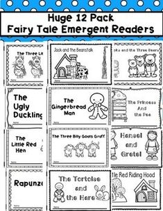 Your beginning readers will love this simple set of fairy tale and fable emergent readers. This set contains 12 different emergent reader fairy tales. Each page contains simple repetitive text perfect for beginning readers. These books are perfect for Readers Workshop Kindergarten, Reading Workshop, Teaching Kindergarten, Preschool Literacy, Preschool Themes, Sight Word Readers, Fairy Tales Unit, 2nd Grade Activities, Fairy Tale Theme