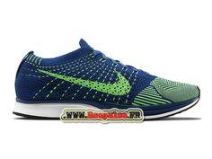 NIKE FLYKNIT RACER - Officiel NIKE MIXTE PAS CHER (TAILLE HOMME) BLEU BRAVOURE/VERT POISON/BLANC 526628-403-1711060499-Nike chaussures français boutique Ecopulse.Fr