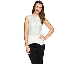 G.I.L.I. Perforated Faux Leather Top with Ponte Peplum Hem