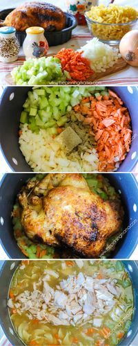 World's Best Homemade Chicken Noodle Soup Recipe- Using a rotisserie is GENIUS! It makes this so quick and flavor packed!