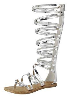 1da64c63bc16e Cambridge Select Women s Open Toe Crisscross Strappy Flat Knee-High  Gladiator Sandal   Nice to