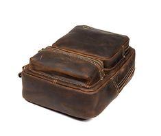 Vintage Leather Sling Backpack for Men Cow Leather, Vintage Leather, Vintage Men, Leather Bag, What Is Odd, Smaller Pores, Crazy Horse, Sport Casual, Crossbody Shoulder Bag