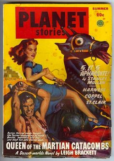 """Queen of the Martian Catacombs""   Planet Stories (Summer 1949)  Cover art by Allen Anderson."