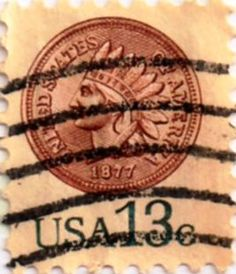 US postage stamp, 13 cents. Indian head penny.  Issued 1978.  Scott catalog 1734.