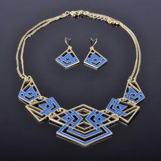 2014 Fashion Gold Plated Blue Enamel Costume Jewelery