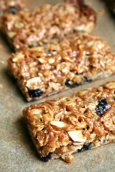 bendy and yummy sounding granola bars. replace the suggested corn syrup with maple syrup or agave and its healthy(ish)