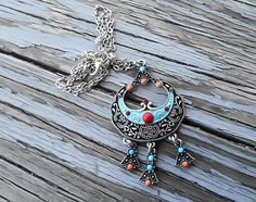 Tribal Necklace, Indian Jewelry, Native American, Crescent Moon, Tribal Jewelry, ethnic necklace, Fantasy Necklace, Gypsy Necklace, bohemian