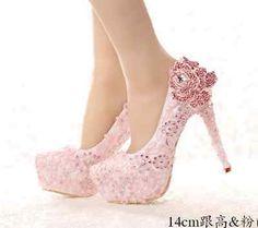 Para mujeres Cristal Estrás Floral Boda Nupcial Plataforma Zapatos Taco Alto De Lujo