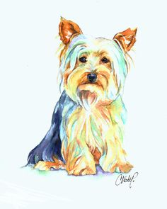 Yorkie Dog Portrait Painting by Christy Freeman - Yorkie Dog Portrait Fine Art Prints and Posters for Sale