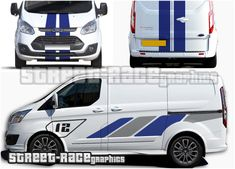 Ford Transit Custom Sport Viper stripes Ford Transit Custom Sport ST-R style sticker kit from street race graphics. Included are large side graphics, front bumper & bonnet stripes, plus stripes for the rear doors. Vw Caddy Tuning, Mini Vans, Transit Custom, Forza Horizon 4, Racing Stripes, Ford Transit, Car Wrap, Color Show, Vehicle