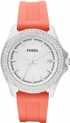 Fossil Retro Traveler Silicone Watch - Coral Fossil. $99.75