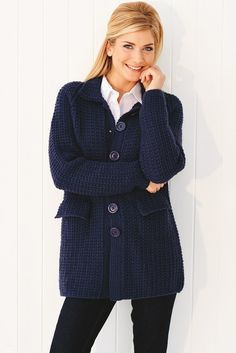 Knitted navy cardigan coat with collar, button front and flapover pockets