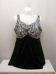 PLUS SIZE 28 Women 1PC Swimdress Zebra Print SWIM365 V-Neck Tummy Control Panel #SWIM365 #Swimdress