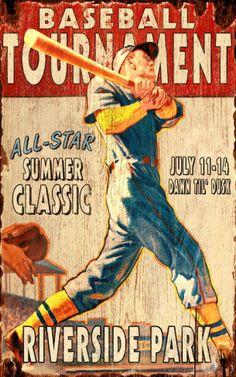 Baseball Game Vintage Wood Sign at AllPosters.com