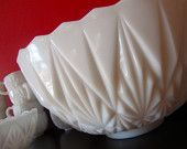 Vintage Milk Glass Punch Bowl Set:  14 Piece Collection