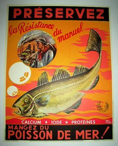 This image, uses a bright color as a background, and the title is contrasting with the black behind it. It has a fish on it, representing the title, 'Poisson de Mer'  which is french for fish of the sea. The text stands out most, causing the hierarchy to favor the title, and then the image of the fish.