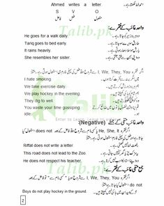 Learn Present Indefinite Tense In Urdu To English PDF Exercise Examples for Simple, Negative, and Interrogative Sentences Practice To Explain The Sentences Easy English Grammar, Grammar Book Pdf, Basic English Sentences, English Grammar Tenses, Learn English Speaking, Learn English Words, Learning English, English Language Course, English Course
