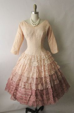 50's Ombre Lace Dress // Vintage Tiered Peach by TheVintageStudio
