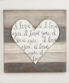 Look at this 'I Love You' Heart-Shape Wood Wall Art by Glory Haus Pallet Crafts, Pallet Art, Diy Pallet Projects, Wood Crafts, Wood Projects, Diy Crafts, Valentine Decorations, Valentine Crafts, Valentines