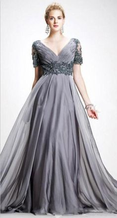 2016 Vintage Trendy Mother Off Bride Dresses Zipper A Line V Neck Appliques  Chiffon Vestidos Dresses Evening Wear Gray Mother Of The Bride Mother Of  The ... 600379ac0cf8