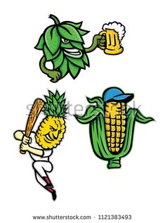 Buy Fruits and Vegetables Mascot Collection by patrimonio on GraphicRiver. Mascot icon illustration set of fruits and vegetables like a beer hops drinking mug of ale, a maize or corn cob weari. Vegetable Stock Image, Beer Hops, Brand Character, Corn On Cob, Book Binding, Fruits And Vegetables, Retro Fashion, Ale, Drinking