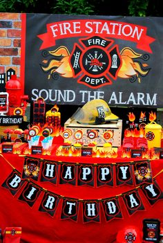 FIREMAN Birthday - Fireman BACKDROP -Fire Fighter Party