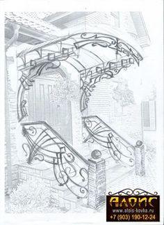Stanislav Bergman Italian inspire stair railings and canopy. Vicit our fb page. Edv grills n' gate Gate Design, Door Design, House Design, Balustrade Inox, Jugendstil Design, Steel Art, Iron Furniture, Art Nouveau Design, Iron Decor