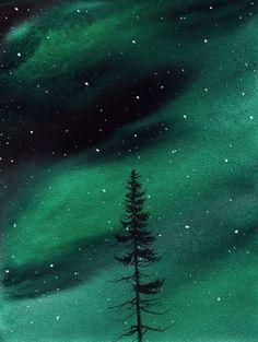 """Northern Lights Tree"" (https://www.etsy.com/listing/119066480/northern-lights-evergreen-original)"