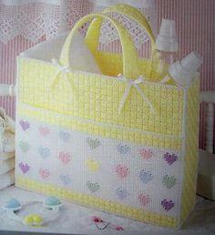 Free Plastic Canvas Purse Patterns | HEARTWARMING-BABY-TOTE-Plastic-Canvas-Pattern-DIAPER-BAG-Bonus-Pattern