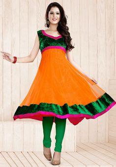 A striking Orange & Green Color Designer Anarkali Suit featuring a green velvet bodice and border outlined with a hot Pink border