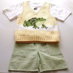 another great find at #ccsboutique www.everythingforchildren.net Boys MARIKA HAHN boutique outfit 5 frog sweater vest t shirt seersucker shorts yellow white green
