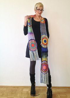 Multicolor Crocheted Circle Scarf Light Silky Yarn от subrosa123