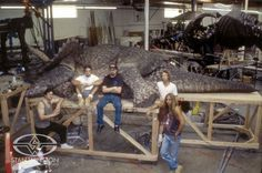 Paul Mejias, Rob Ramsdell, Al Sousa, Crash McCreery and Joey Orosco pose with the sick Triceratops from JURASSIC PARK.