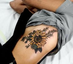Think minute about detailing a sunflower tattoo. Obtaining a sunflower tattoo is a basic decision and a whopping thing. Sunflower tattoos are produced in several of various styles. Sunflower Tattoo Sleeve, Sunflower Tattoo Shoulder, Sunflower Tattoo Small, Sunflower Tattoos, Sunflower Tattoo Design, Butterfly Tattoos, Lotus Tattoo, Tattoo Flowers, Tattoo Ink
