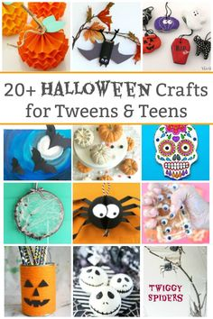 The Coolest Halloween Crafts for Tweens to Make : A creative collection of cool Halloween crafts for tweens and teens to make. All the pumpkins, spiders, bats and ghost crafts you can handle. Halloween Activities For Kids, Halloween Crafts For Kids, First Halloween, Crafts For Teens, Teen Crafts, Homemade Halloween, Preschool Halloween, Paper Halloween, Thanksgiving Activities