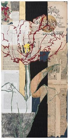 Robert Kushner, Red Parrot Kinder Sinfonie, 2012 Oil, acrylic, gold leaf, and collage on paper, 37 x 18 inches Inquire