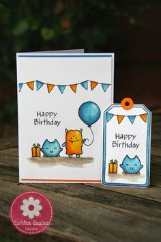 Lawn Fawn - Monster Mash, Blue Skies, Admit One, Beep Boop Birthday, Bake Me a Cake, Winter Gifts, Tag You're It _ adorable card and tag set by Sandra Bastus Designs: Monsters card and tag