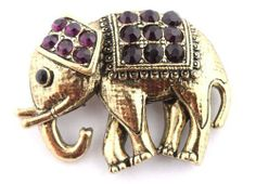 Ladies Gold with Purple Iced Out Elephant Style Safety Pin Brooch & Pin Pendant JOTW. $0.01. Great Quality Jewelry!. 100% Satisfaction Guaranteed!. The approximate measurements of the brooch & pin is 1.5 inches from top to bottom, 2 inches from left to right.