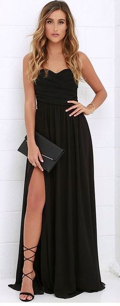 Black dress with exposing leg slit                                                                                                                                                                                 More