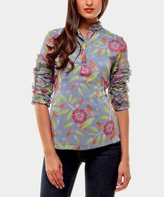 Take a look at this Blue Moon Three-Quarter Sleeve Top by Almatrichi on @zulily today!
