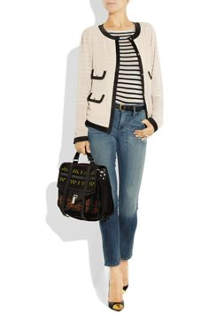By Malene Birger blouse, DAY Birger et Mikkelsen shirt, Citizens of Humanity jeans, Christian Louboutin shoes, and Proenza Schouler bag