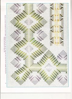 PUNTO YUGOSLAVO - Vagonite Swedish Embroidery, Ribbon Embroidery, Embroidery Stitches, Embroidery Patterns, Bargello Patterns, Needlepoint Patterns, Huck Towels, Swedish Weaving Patterns, Monks Cloth