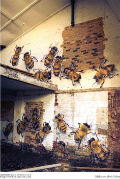 Bees in an old building. #derelict #art