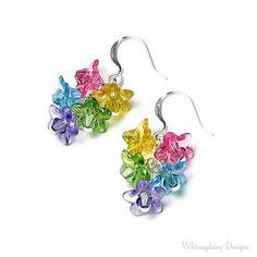 Colorful Swarovski Crystal Spring Flower Silver Earrings, Easter Earrings, Spring Flower Jewelry, Pink, Yellow, Green, Turquoise, Purple