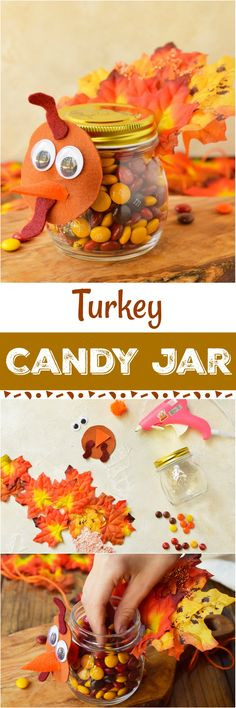 Turkey Candy Jar Thanksgiving Craft For Kids - This candy Jar homemade gift is perfect for Thanksgiving. Kids can make this easy diy craft to give to loved ones on the holidays. #kidcrafts Thanksgivingcraft #homemadegift #SundaeFunday