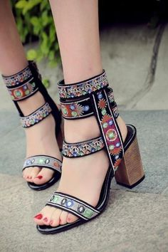 Retro Open Toe Ankle Wrap High Chunky Heels Sandals  retro  sandals  heels   17da22899b8a
