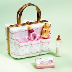 Limoges Baby Girl Bag Box with Bottle