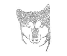 Shiba InuPrintable Coloring Page Art Therapy Dog Digi by Inklets