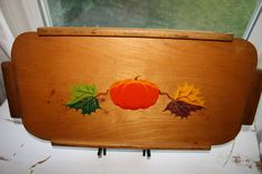 Large Vintage Hand Painted Wooden Pumpkin Tray by VintageTale, $34.58
