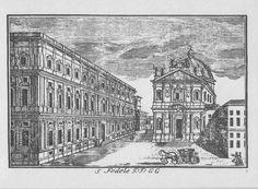 """Chiesa di S. Fedele, piazza S. Fedele, Milano. Marc'Antonio Dal Re, """"Vedute di Milano"""", incisione 20 (ca. 1745)."""